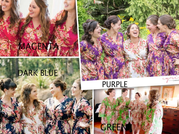 Mismatched Rosy Red Posy Patterned Bridesmaids Robes in Jewel Tones