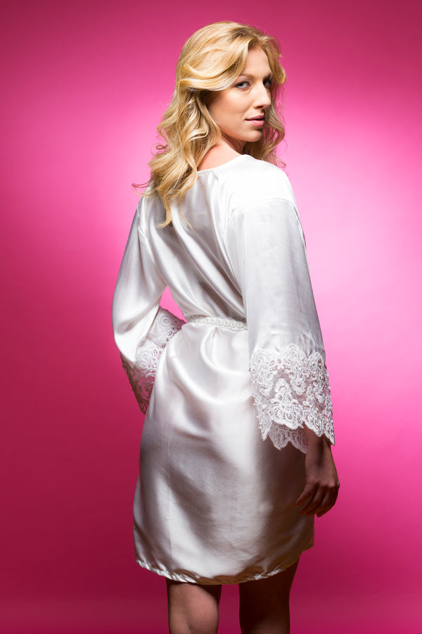 White Satin Robe with Lace Accented Cuffs