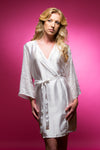 Winter White Satin Robe with Brasso Sleeves