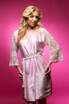 Light Pink Satin Robe with Full Length Lace Sleeves