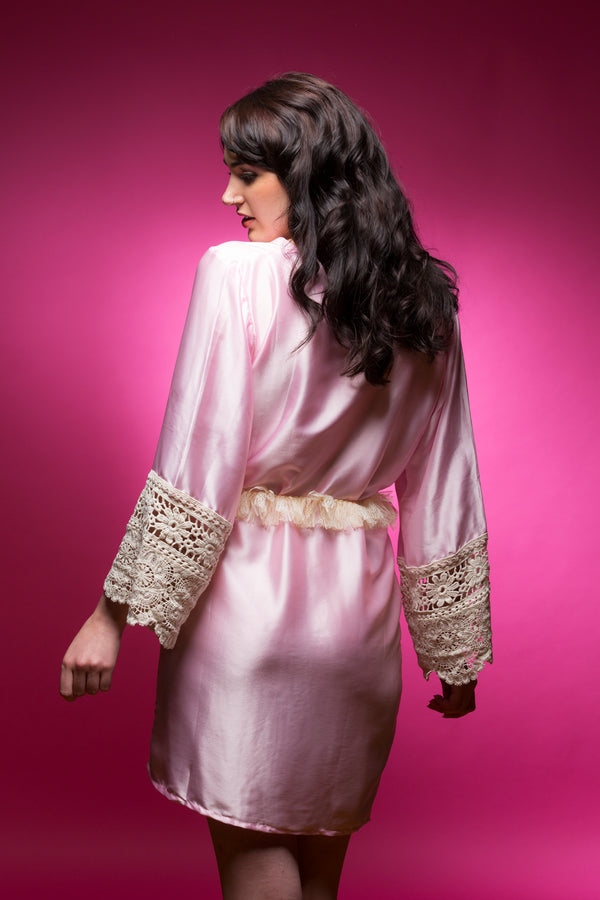 Pink Satin Robe with Lace Accented Cuffs