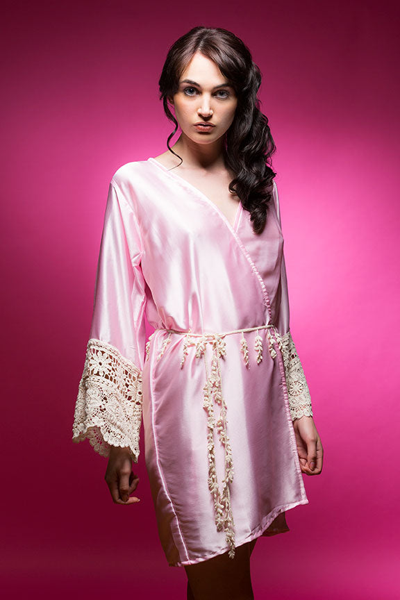 Blush Pink Satin Robe With Lace Accented Cuff