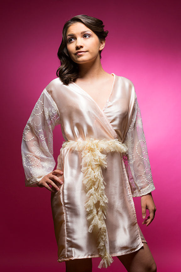 Light Peach/Apricot Satin Robe with Full Length Lace Sleeve