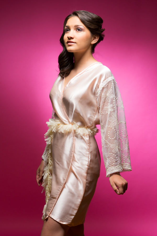 Peach Satin Robe with Lace Sleeves