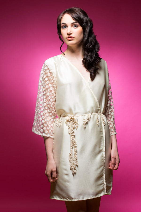 Ivory Satin Robe with Full Length Lace Sleeves
