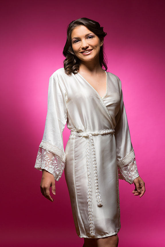 White Satin Robe with Lace Accented Cuff