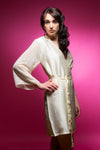 Ivory Satin Robe with Brasso Sleeves