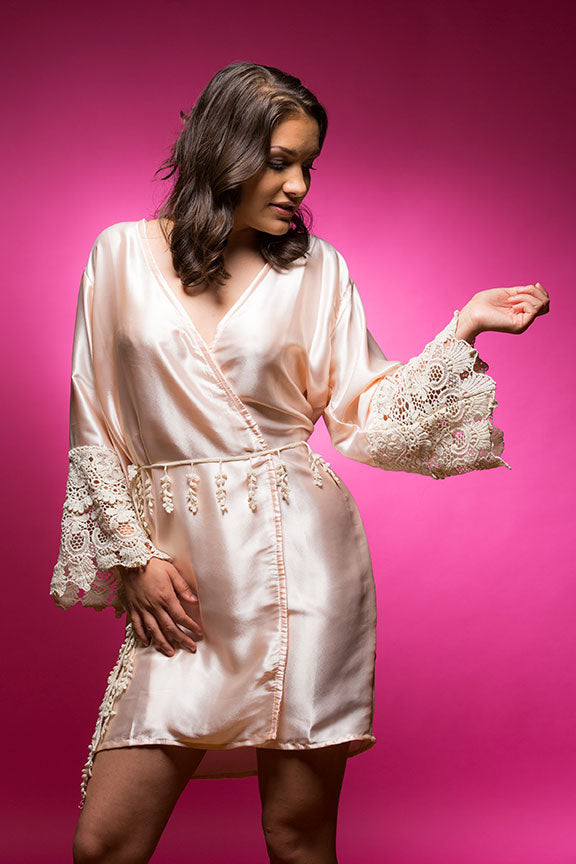 Light Peach/Apricot Satin Robe with Lace Accented Cuff