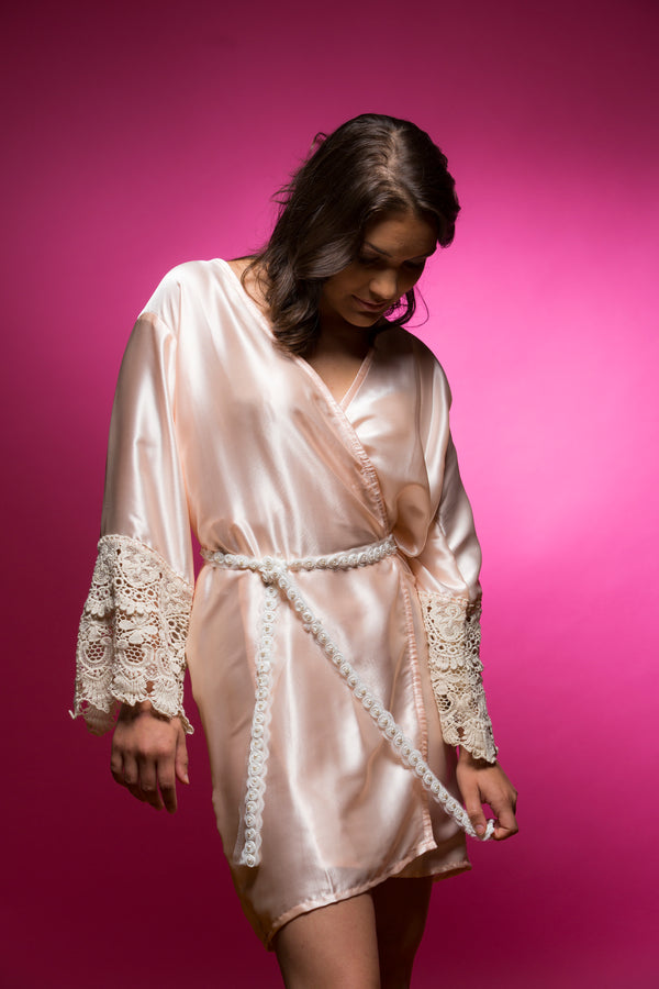 Light Peach Satin Robe with Lace Accented Cuff