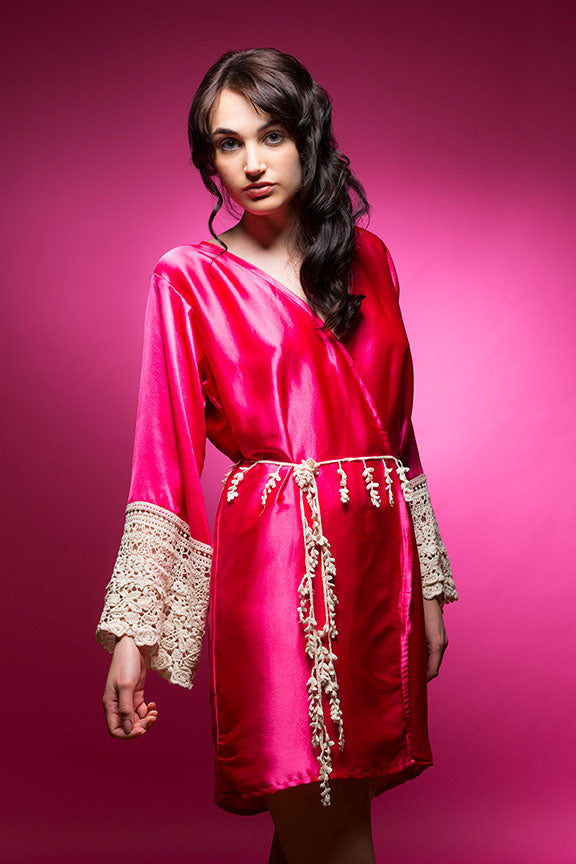 Hot Pink Satin Robe with Lace Accented Cuff