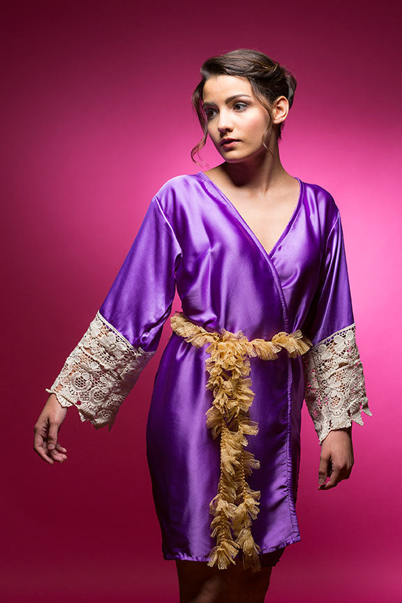 Amethyst Purple Satin Robe with Lace Accented Cuffs