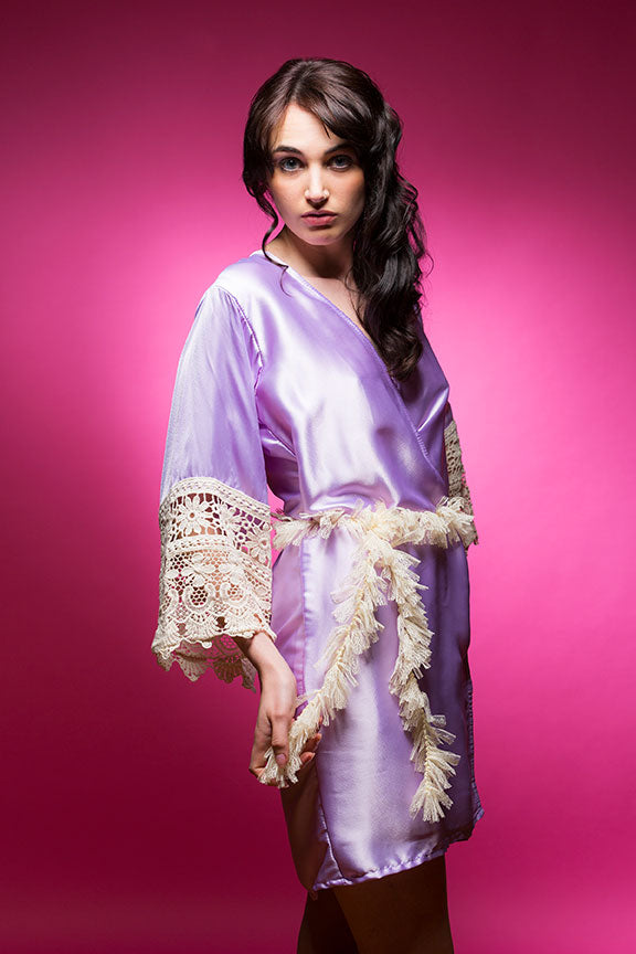 Lavender Satin Robe with Lace Accented Cuffs