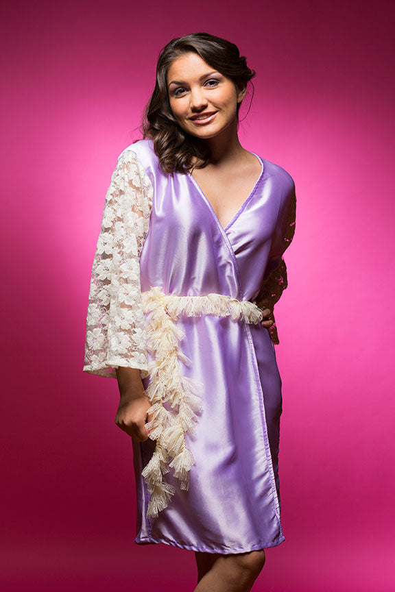 Lavender Satin Robe with full-length Lace Sleeves