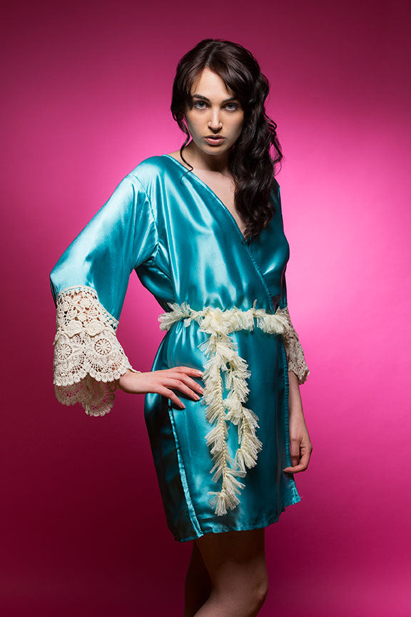 Ice Blue Satin Robe with Ivory Lace Accented Cuff