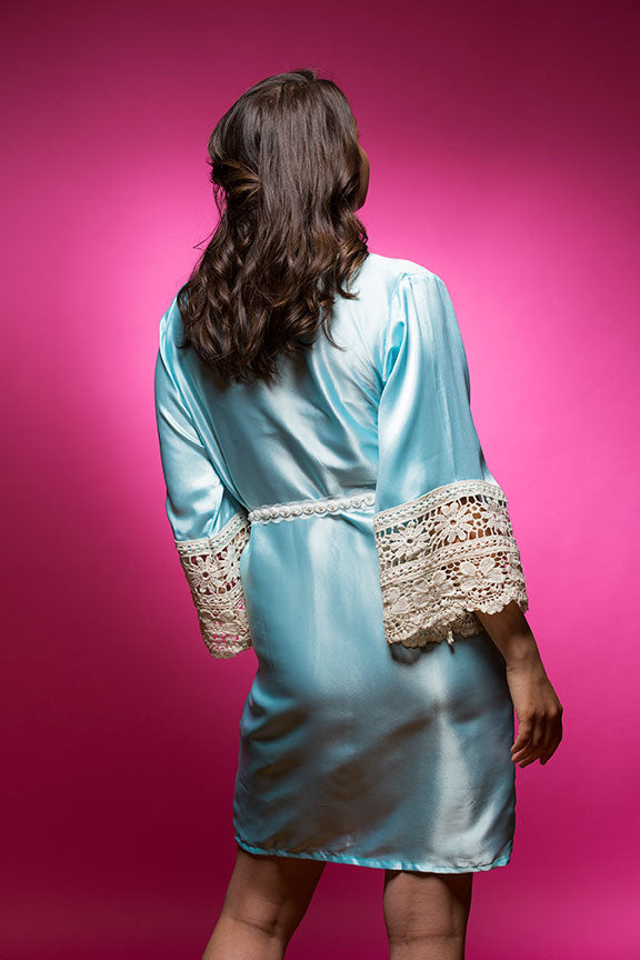 Sky Blue Satin Robe with Lace Accented Cuffs