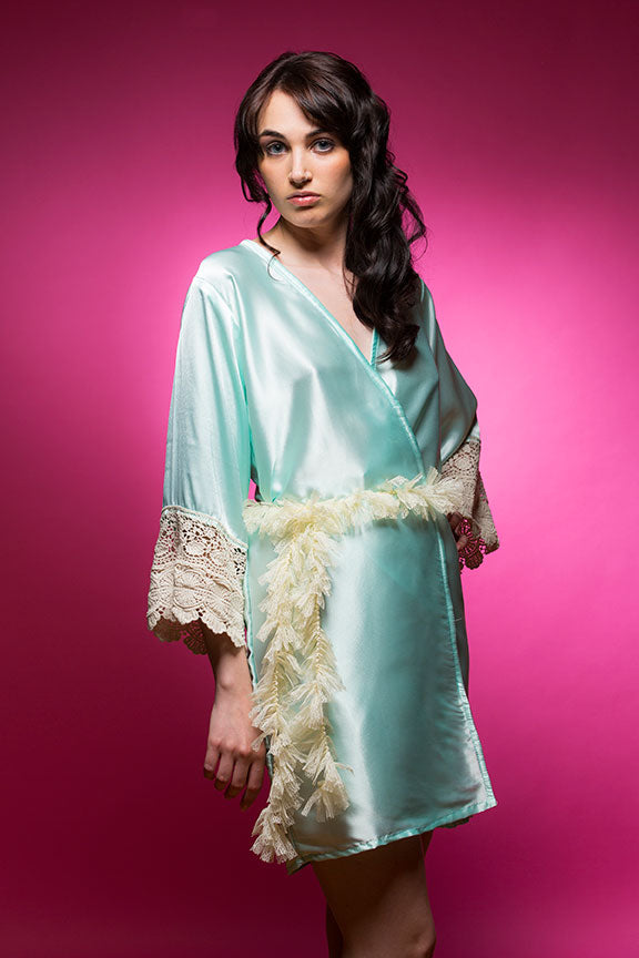 Aqua Blue Satin Robe with Ivory Lace Sleeves