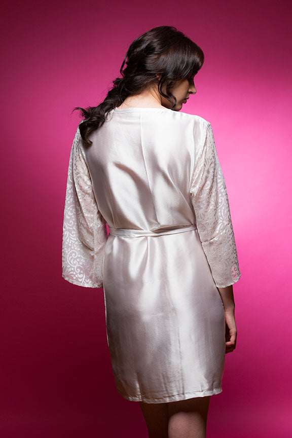 Off White Satin Robe with Brasso Sleeves