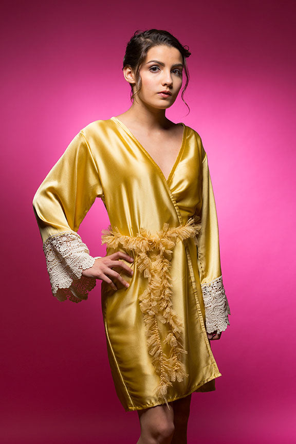 Gold Satin Robe with Ivory Lace Accented Cuffs