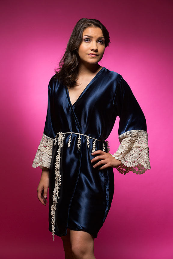 Deep Sapphire Blue Satin Robe with Ivory Lace Accented Cuffs