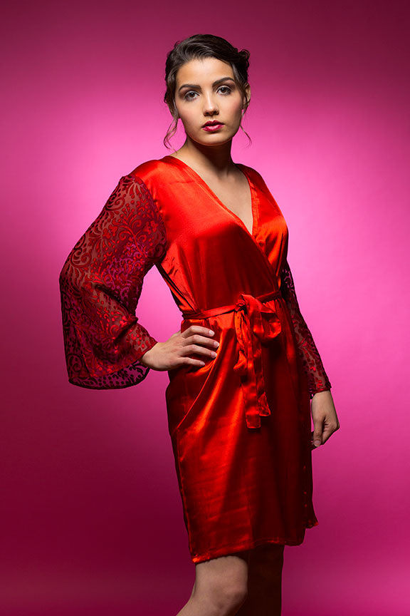 Ruby Red Satin Robe with Brasso Sleeves