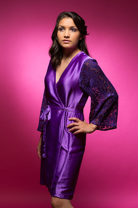 Amethyst Purple Satin Robe with Brasso Sleeves