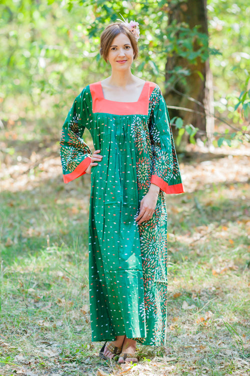 Dark Green Fire Maiden Style Caftan in Abstract Floral Pattern