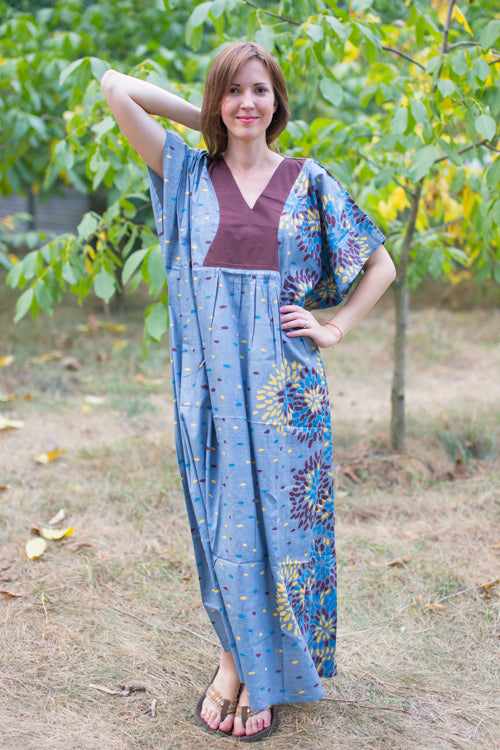 Gray Flowing River Style Caftan in Abstract Floral Pattern