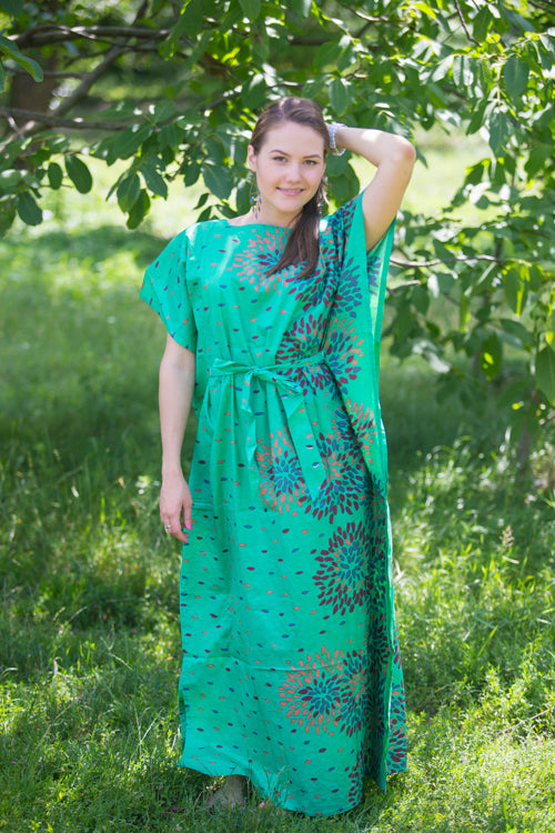 Green Divinely Simple Style Caftan in Abstract Floral Pattern|Green Divinely Simple Style Caftan in Abstract Floral Pattern|Abstract Floral