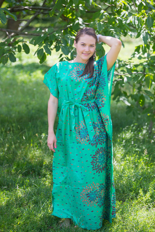 Green Divinely Simple Style Caftan in Abstract Floral Pattern