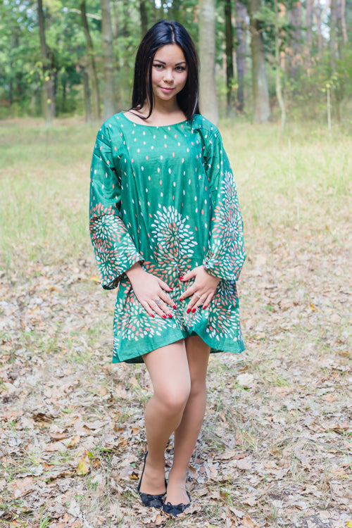 Dark Green Bella Tunic Style Caftan in Abstract Florals Pattern