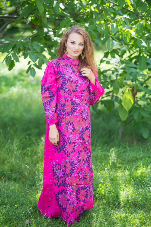 Magenta Charming Collars Style Caftan in Abstract Floral Pattern