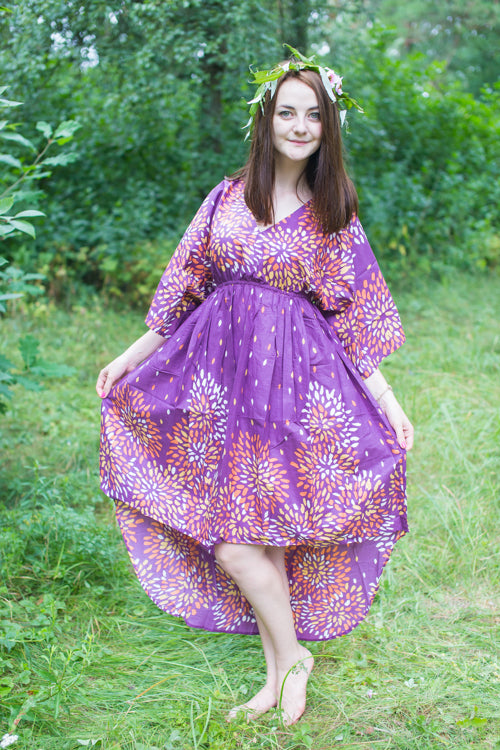 Plum High Low Wind Flow Style Caftan in Abstract Floral Pattern