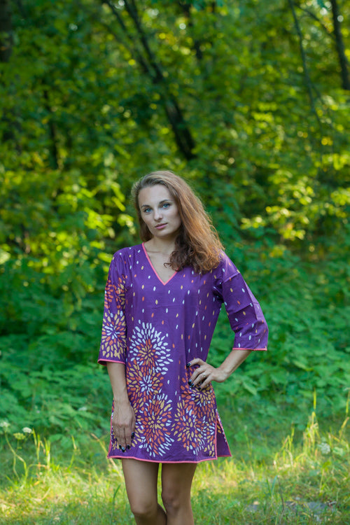 Wine Sun and Sand Style Caftan in Abstract Floral Pattern