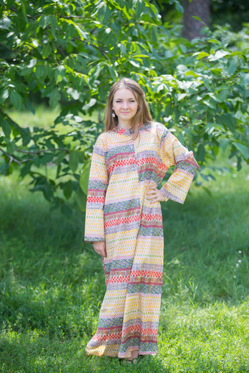 Yellow Charming Collars Style Caftan in Abstract Geometric Pattern