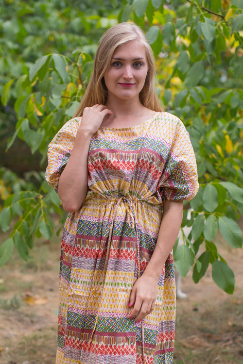 Yellow Cut Out Cute Style Caftan in Abstract Geometric Pattern
