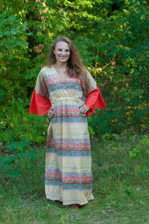 Yellow Ballerina Style Caftan in Abstract Geometric Pattern