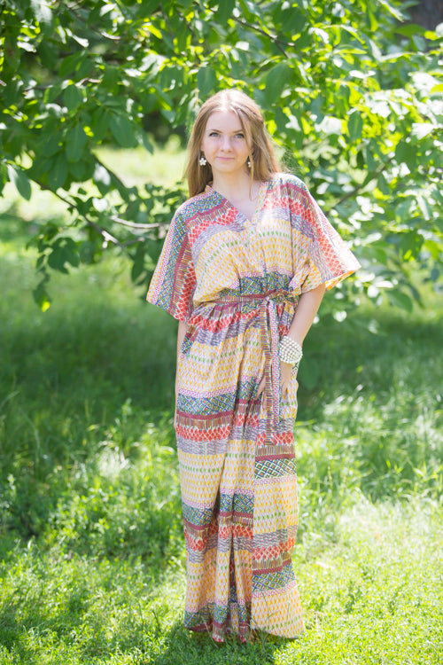 Yellow Best of both the worlds Style Caftan in Abstract Geometric Pattern