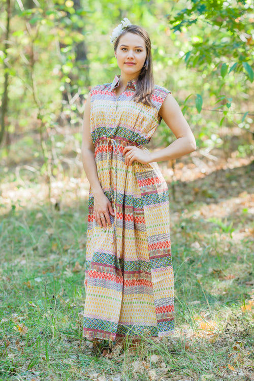 Yellow Cool Summer Style Caftan in Abstract Geometric Pattern