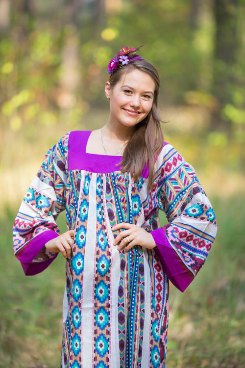 Burgundy Fire Maiden Style Caftan in Aztec Geometric Pattern|Burgundy Fire Maiden Style Caftan in Aztec Geometric Pattern|Aztec Geometric