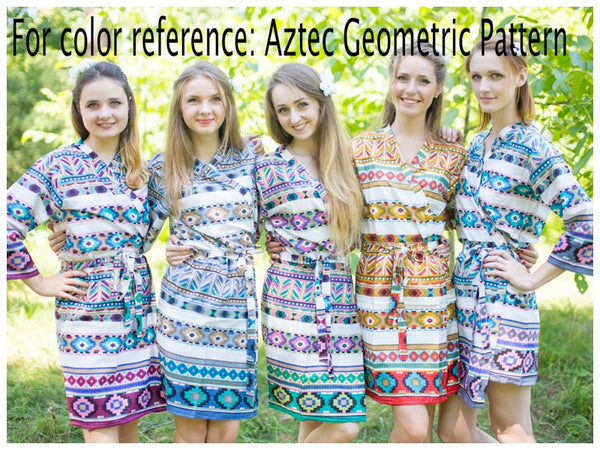 White Green Button Me Down Style Caftan in Aztec Geometric Pattern