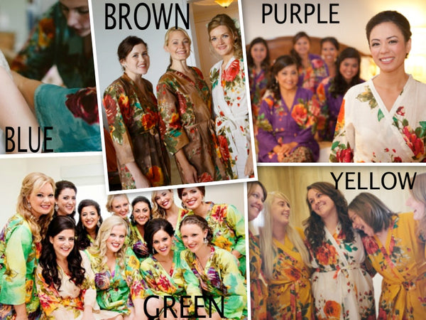 Mismatched Large Floral Blossom Patterned Bridesmaids Robes in Jewel Tones