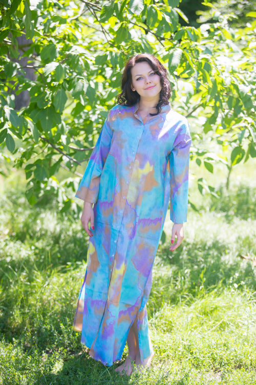 White Mustard Charming Collars Style Caftan in Aztec Geometric Pattern