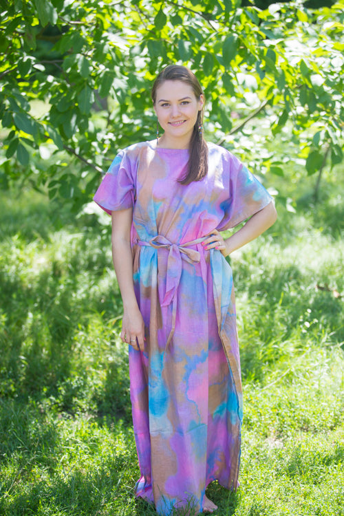 Lilac Divinely Simple Style Caftan in Batik Watercolor Pattern|Lilac Divinely Simple Style Caftan in Batik Watercolor Pattern|Batik Watercolor
