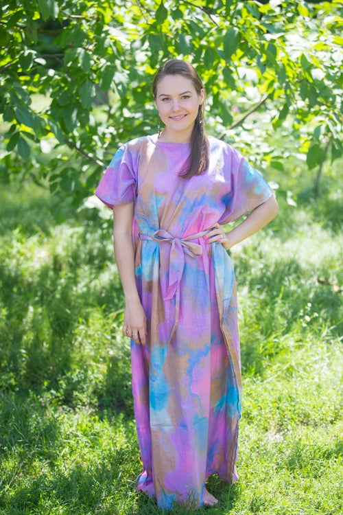 Lilac Divinely Simple Style Caftan in Batik Watercolor Pattern