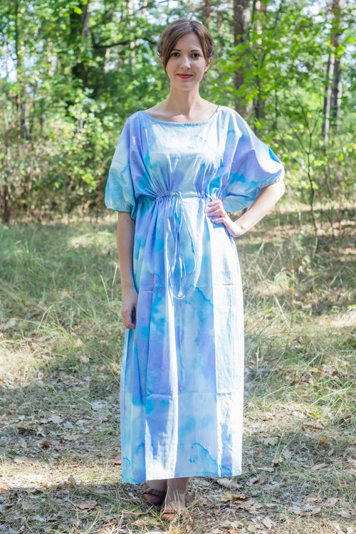 White Blue Cut Out Cute Style Caftan in Batik Watercolor Pattern|White Blue Cut Out Cute Style Caftan in Batik Watercolor Pattern|Batik Watercolor