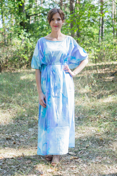 White Blue Cut Out Cute Style Caftan in Batik Watercolor Pattern