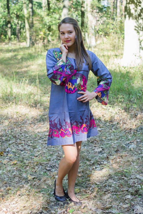 Gray Bella Tunic Style Caftan in Big Butterfly Pattern