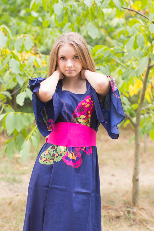 Navy Blue Beauty, Belt and Beyond Style Caftan in Big Butterfly