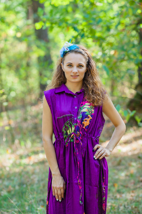 Purple Cool Summer Style Caftan in Big Butterfly Pattern
