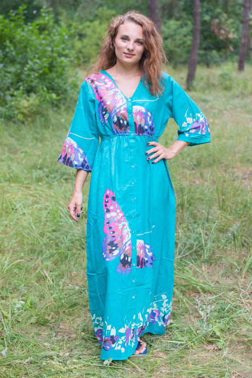 Teal Button Me Down Style Caftan in Big Butterfly Pattern|Teal Button Me Down Style Caftan in Big Butterfly Pattern|Big Butterfly